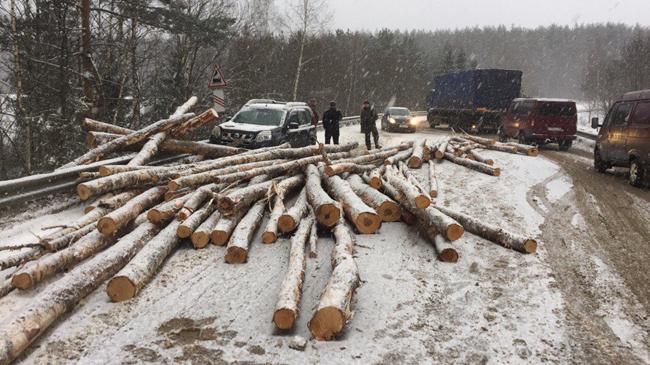 ВКольчугинском районе опрокинулся прицеп сбревнами