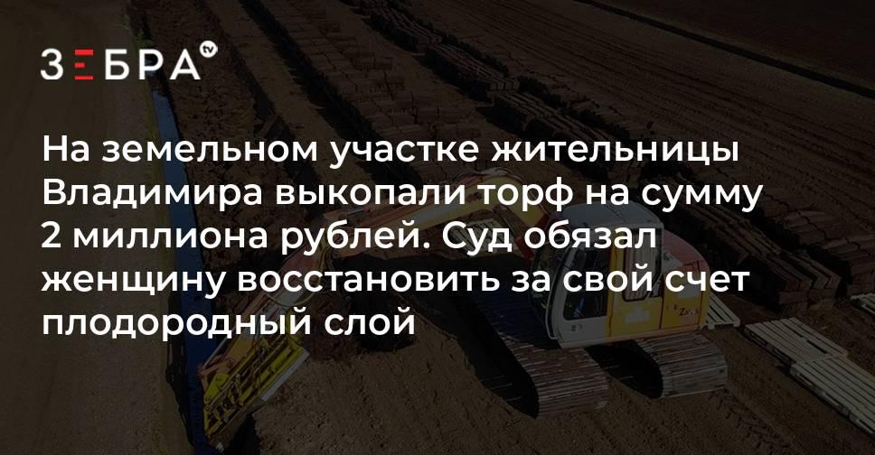 На земельном участке жительницы Владимира выкопали торф на сумму 2 миллиона рублей. Суд обязал женщину восстановить за свой счет плодородный слой